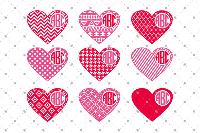 Hearts Monogram Frames SVG Files