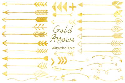 Watercolor Gold Arrows