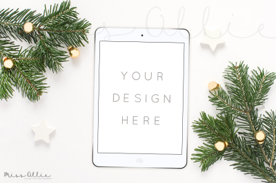 Winter styled tablet mockup