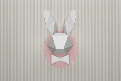 DIY Rabbit head - wall mount trophy (Printable)