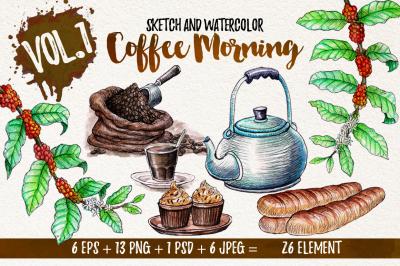 Watercolor Coffee Element