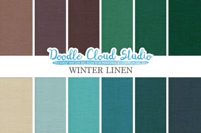 Winter Linen Fabric digital paper pack, cool colors Backgrounds, Linen burlap jute texture, Instant Download for Personal & Commercial Use
