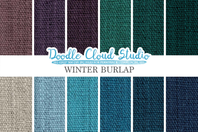 Winter Burlap Fabric digital paper pack, cool colors Backgrounds, Burlap linen jute texture, Instant Download for Personal & Commercial Use