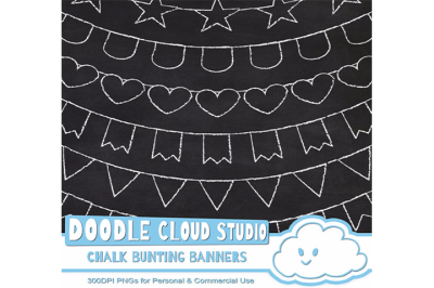 White Chalk Bunting Banners Cliparts Pack, Chalkboard Bunting Flags, Transparent Background, Instant Download, Personal & Commercial Use