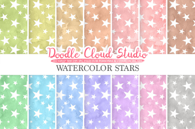 Watercolor Stars digital paper, Stars patterns, pastel watercolor night sky background, Instant Download, for Personal & Commercial Use