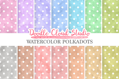 Watercolor Polkadot digital paper, Polkadot patterns, pastel watercolour background, Instant Download for Personal & Commercial Use