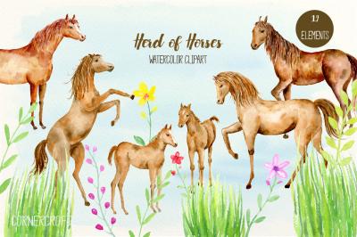 Watercolor Clipart Herd of Horses