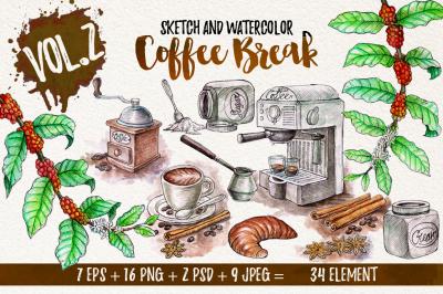 Watercolor Break Time Coffee