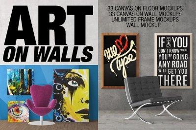 Art On Walls Mockup - Canvas Mockups - Frame Mockups - Wall Mockups - Scene Creator Vol 2