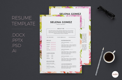 Elegant floral CV and Cover Letter template