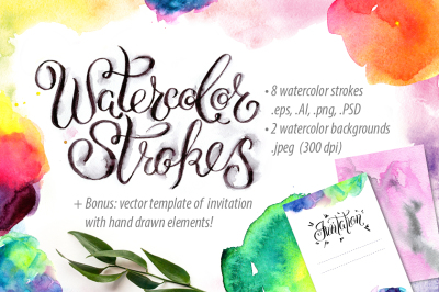 Watercolor hand drawn strokes