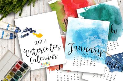 2017 Hand Paint Watercolor Calendar