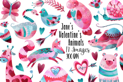 Watercolor Valentines Day Animals Clipart