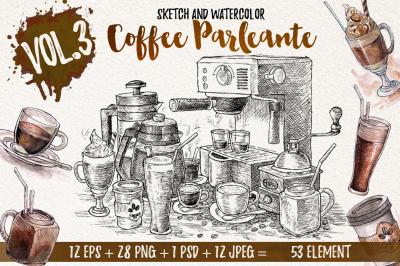 Watercolor Coffee Black Parleante