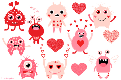 Valentine clipart, Valentine monsters clipart, Cute pink monster clip art, Love clipart
