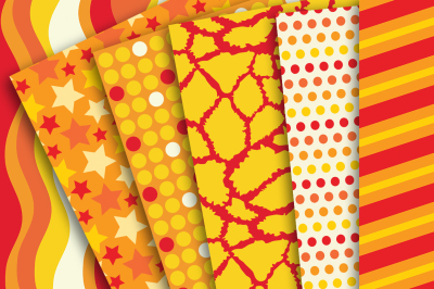 Digital Paper: Orange and Yellow Patterns of Waves, Stripes, Stars, Polka Dots, Giraffe Skin, Diagonal Stripes