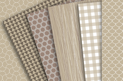 Digital Paper: Brown, Tan and White Patterns of Hexagon, Triangles, Plaid, Gingham, Scales