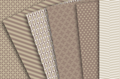 Digital Paper: Brown, Tan and White Patterns of Chevron, Polka Dots, Stripes, Quarterfoil