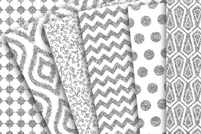 Digital Paper: Silver Glitter Patterns of Polka Dots, Chevron, Flower doodles, iKat and tiles