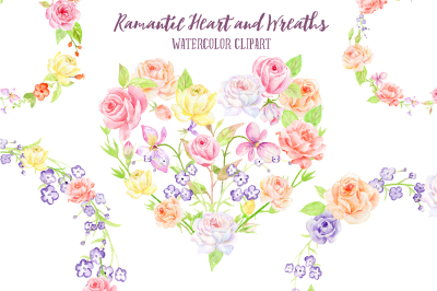 Watercolor Rose Wreath and Heart