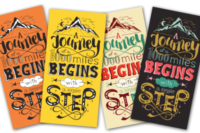 A journey of a thousand miles begins with a single step - lettering quote