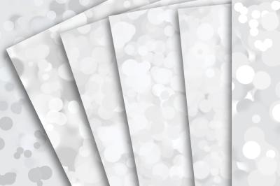Digital Paper: White Bokeh Patterns, Confetti, Glitter