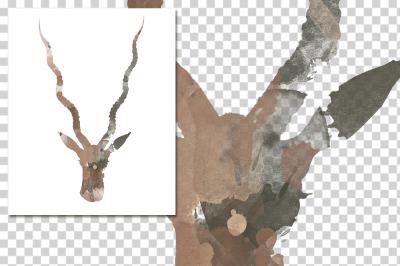 watercolor silhouettes: watercolor Adult Black Buck