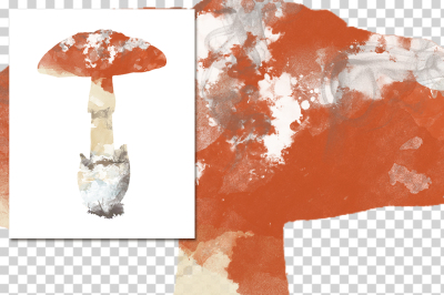 watercolor silhouettes: watercolor caesars mushroom
