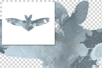 watercolor silhouettes: watercolor chiropetra bat