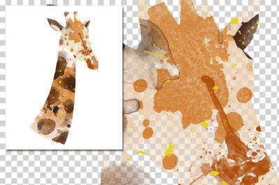 watercolor silhouettes: watercolor giraffe