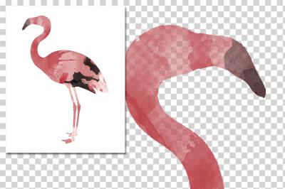 watercolor silhouettes: watercolor pink flamingo