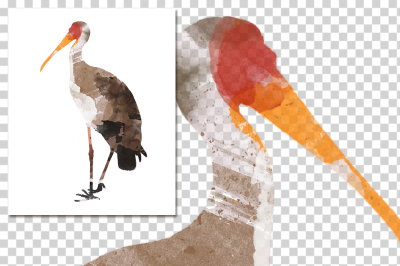 watercolor silhouettes: watercolor YellowBilled Stork