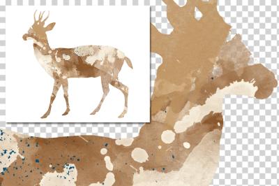 watercolor silhouettes: watercolor north andean Deer