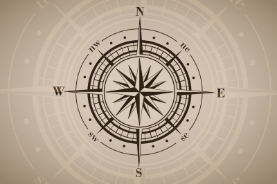 Vector compass rose (windrose).