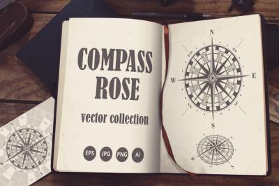 Compass Rose Vector Set.