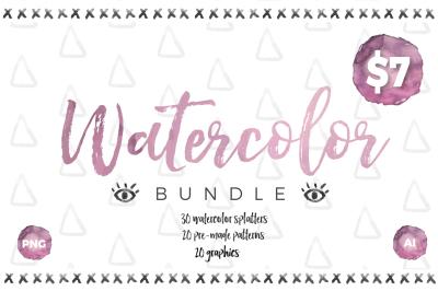 Watercolor bundle -Illustrator
