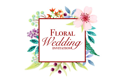hand painting floral wedding invitations card