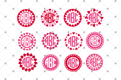 Valentine's Day SVG Monogram Frames