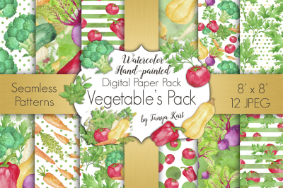 Vegetable Digital Papers Pack