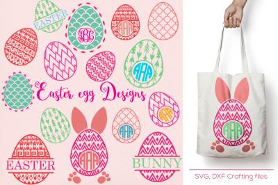 Easter egg monogram frames svg, cricut easter svg, egg svg, easeter svg