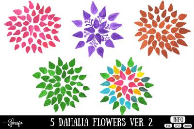 Dahlia Flower Clip Art Ver. 2