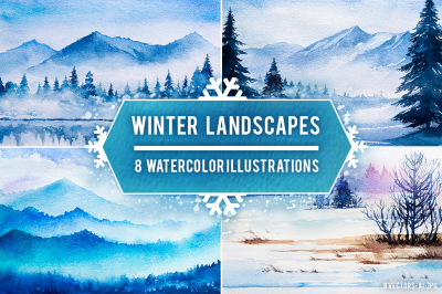 Winter Landscapes set#2. Watercolor.