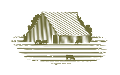 Woodcut Barn and Cattle
