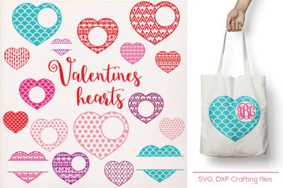 Valentines Hearts Designs Monogram Frames Svg cutting file, SVG, hearts svg, Cricut Design Space, Silhouette Studio, valentine hearts svg,