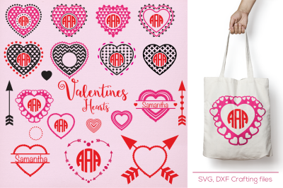 Arrow Hearts Designs Monogram Frames Svg cutting file, SVG, DXF, arrows, hearts, Cricut Design Space, Silhouette Studio,valentine hearts,