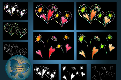 Image bright, glowing heart with pattern and individual elements on a black background. The archive contains 10 files in JPEG format, 300 dpi, color and black-and-white images to design and work in excellent quality