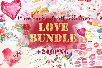 Love watercolor bundle. Valentine's day  clipart