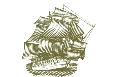 Woodcut Ship