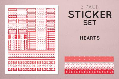 Planner Sticker Set - Hearts