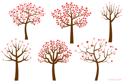 Love trees clipart set, Valentine tree clip art collection, Trees with heart shaped leaves
